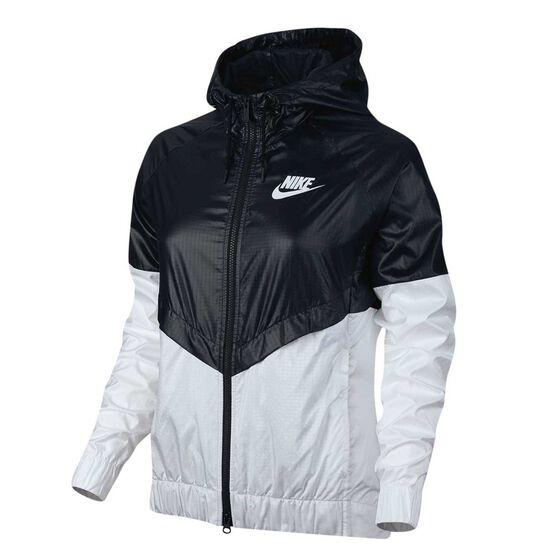 Nike Womens Sportswear Windrunner Jacket Black   White XS Adult ... 4c8ce6e40