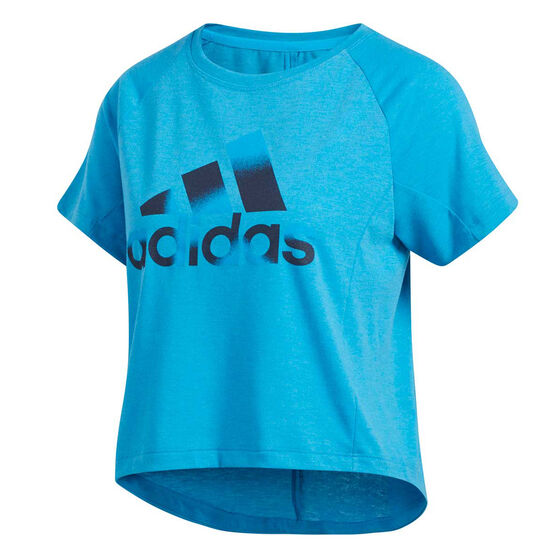 adidas Womens Boxy BOS Tee Blue L, Blue, rebel_hi-res