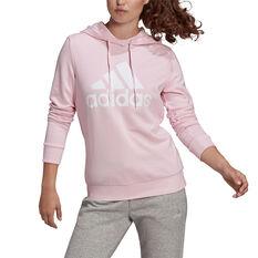adidas Womens Big Logo Fleece Hoodie Pink XS, Pink, rebel_hi-res