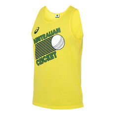 Cricket Australia 2019/20 Mens World Series Supporter Singlet Yellow S, Yellow, rebel_hi-res