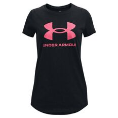 Under Armour Girls Live Sportstyle Graphic Tee Black/Pink XS XS, Black/Pink, rebel_hi-res