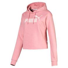 Puma Womens Essentials Cropped Hoodie Pink XS, Pink, rebel_hi-res