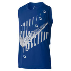 Nike Boys DriFIT Sleeveless Dominate Tee Blue / White XS, Blue / White, rebel_hi-res