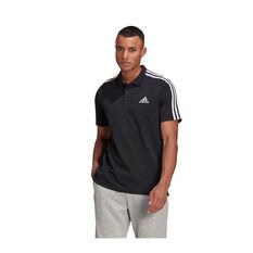adidas Mens Essentials Pique 3-Stripes Polo Black XS, Black, rebel_hi-res