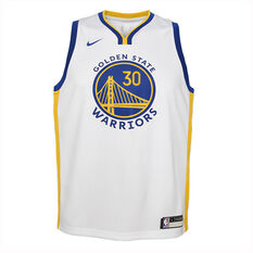 Nike Golden State Warriors Steph Curry 2019/20 Kids Association Edition Swingman Jersey White / Blue S, White / Blue, rebel_hi-res