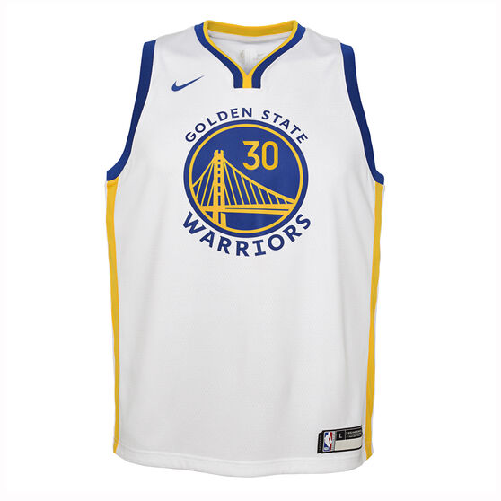 Nike Golden State Warriors Steph Curry 2019/20 Kids Association Edition Swingman Jersey, White / Blue, rebel_hi-res