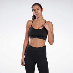 Reebok Womens Workout Ready Tri Back Sports Bra, Black, rebel_hi-res
