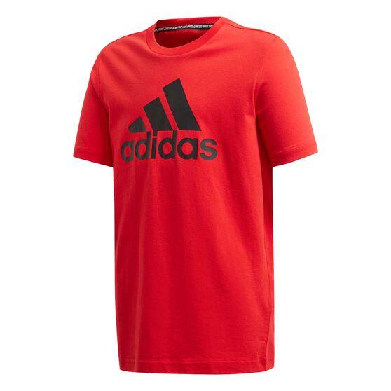 adidas Boys Must Haves Badge Of Sport Tee, Red / Black, rebel_hi-res