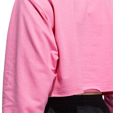adidas Womens 3 Bar Text Sweatshirt, Pink, rebel_hi-res