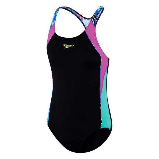 Speedo Girls Image Piece Swimsuit, Black / Print, rebel_hi-res