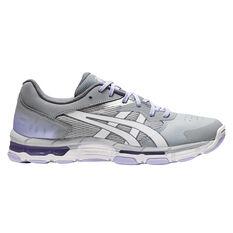 Asics Gel Netburner Academy 8 Womens Netball Shoes Grey/White US 6.5, Grey/White, rebel_hi-res