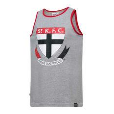 St Kilda Saints Mens Supporter Logo Tank Grey S, Grey, rebel_hi-res