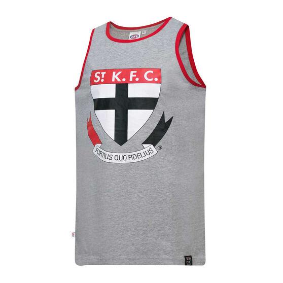 St Kilda Saints Mens Supporter Logo Tank Grey L, Grey, rebel_hi-res