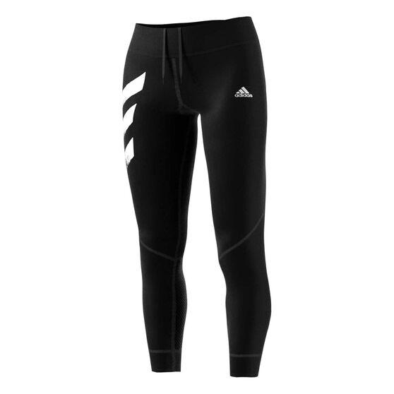 adidas Womens Own the Run 3-Stripes Tights, Black, rebel_hi-res