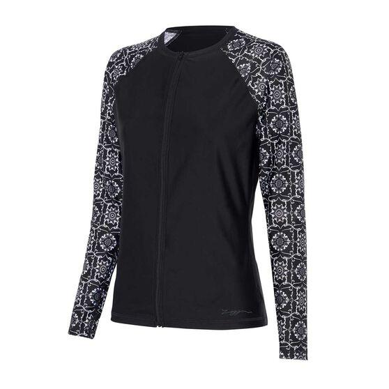 Zoggs Womens Glacier Long Sleeve Zip Rash Vest, Black / Multi, rebel_hi-res