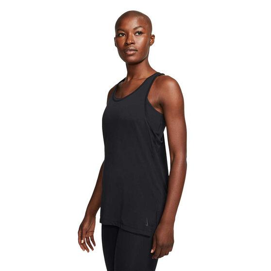 Nike Womens Yoga Tank, Black, rebel_hi-res