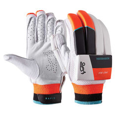 Kookaburra Rapid Pro 800 Junior Cricket Batting Gloves White / Orange Youth Right Hand, White / Orange, rebel_hi-res