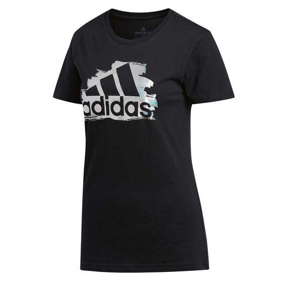 adidas Womens I See You Badge Of Sport Tee Black XS, Black, rebel_hi-res
