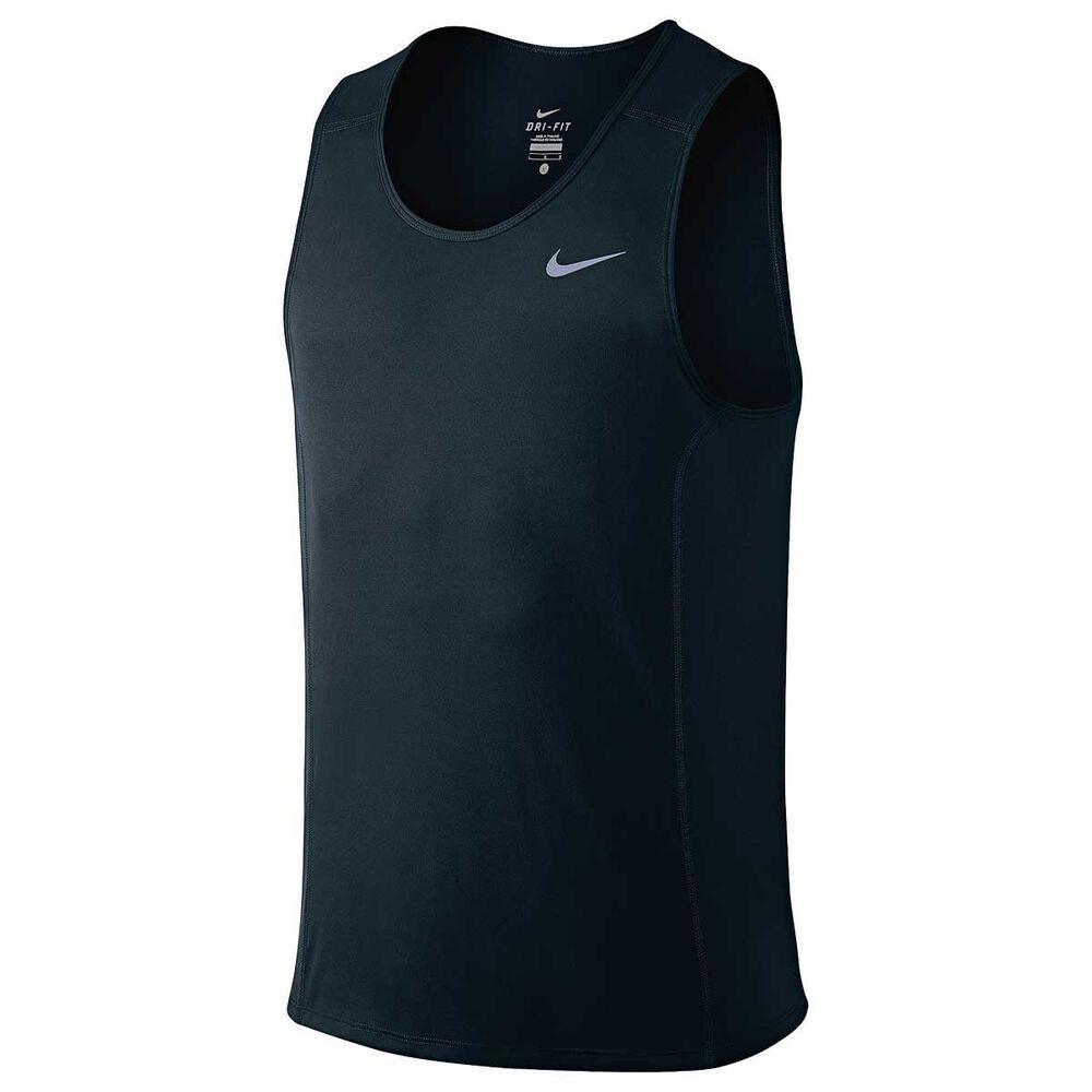 f539dc7c1dbf Nike Mens Dri FIT Miler Running Singlet Black   Silver S