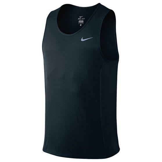 3d832d8ccaf95a Nike Mens Dri FIT Miler Running Singlet Black   Silver S