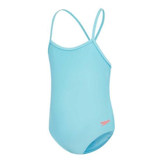 Speedo Girls Leisure Cross Back Swimsuit, Blue, rebel_hi-res