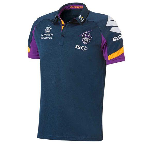 c4665b751d4 Melbourne Storm 2018 Mens Player Polo Shirt Navy   Purple S
