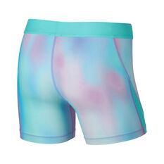 Nike Girls Pro Printed Training Boyshorts Aqua / Purple XS, Aqua / Purple, rebel_hi-res