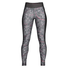 Under Armour Womens HeatGear Armour Printed Tights Grey / Pink XS, Grey / Pink, rebel_hi-res