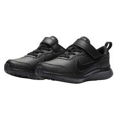 Nike Varsity Leather Kids Running Shoes, Black, rebel_hi-res