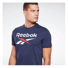 Reebok Mens Big Logo Tee, Navy, rebel_hi-res