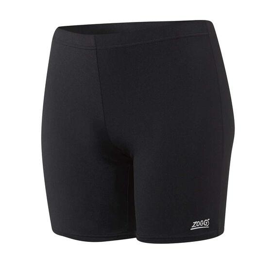 Zoggs Womens Mackenzie Mid Thigh Swim Shorts, Black, rebel_hi-res