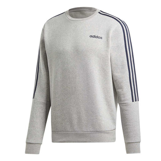 adidas Mens 3-Stripes Sweatshirt Grey S, Grey, rebel_hi-res