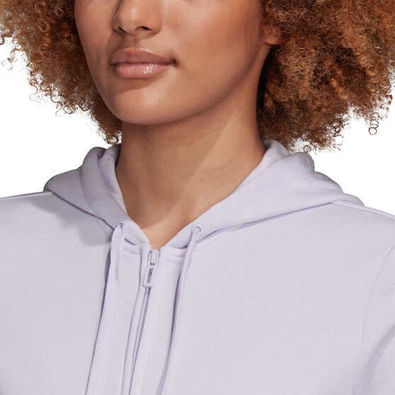 adidas Womens Essentials Linear Full Zip Hoodie, Purple, rebel_hi-res