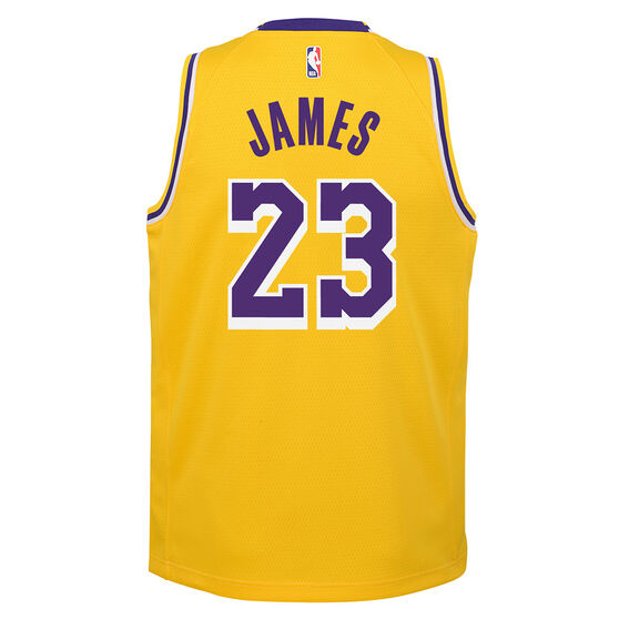 Nike Los Angeles Lakers LeBron James Icon 2019 Kids Swingman Jersey, Yellow, rebel_hi-res