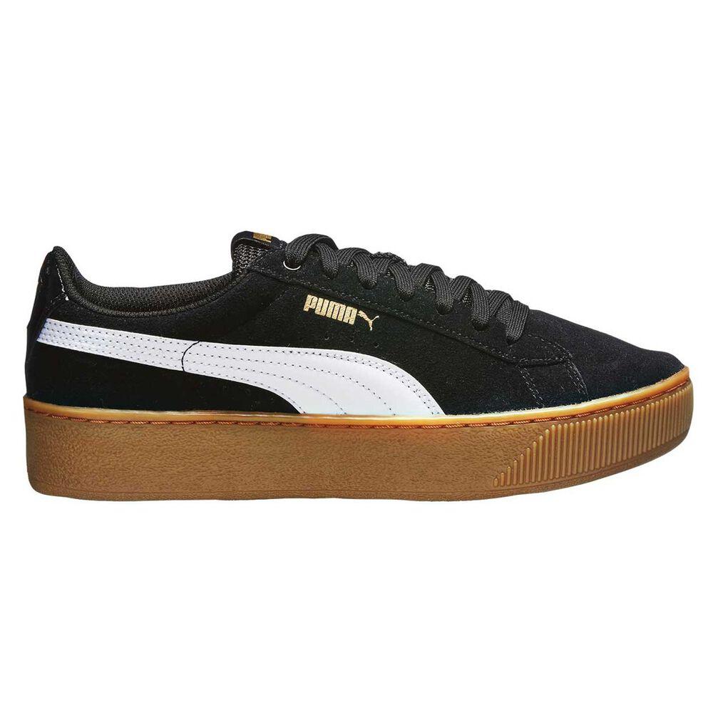 25f88bd38b8 Puma Vikky Platform Womens Casual Shoes Black   White US 6