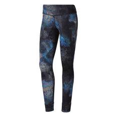 Reebok Womens Lux Bold Oil Slick Leggings Black / Print XS, Black / Print, rebel_hi-res