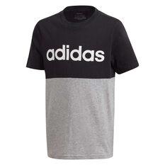 adidas Boys Linear Colourblock Tee Black/Grey 6, Black/Grey, rebel_hi-res