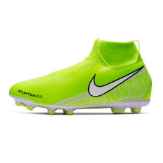 Nike Phantom Vision Academy Dynamic Fit Kids Football Boots Green / White US 1, Green / White, rebel_hi-res