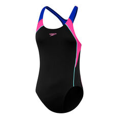Speedo Girls Image Piece Swimsuit Black / Multi 8, Black / Multi, rebel_hi-res
