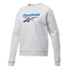 Reebok Womens Classic Vector Crew Sweatshirt White XS, White, rebel_hi-res