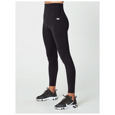 Running Bare Womens Ab Tastic Studio Tights Black 8, Black, rebel_hi-res