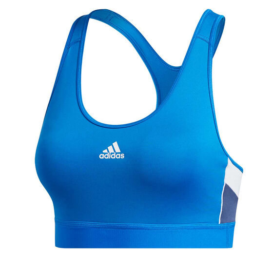 adidas Womens Sports Block Sports Bra, Blue, rebel_hi-res