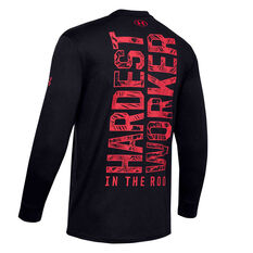 Under Armour Mens Project Rock Hardest Worker Tee Black XS, Black, rebel_hi-res