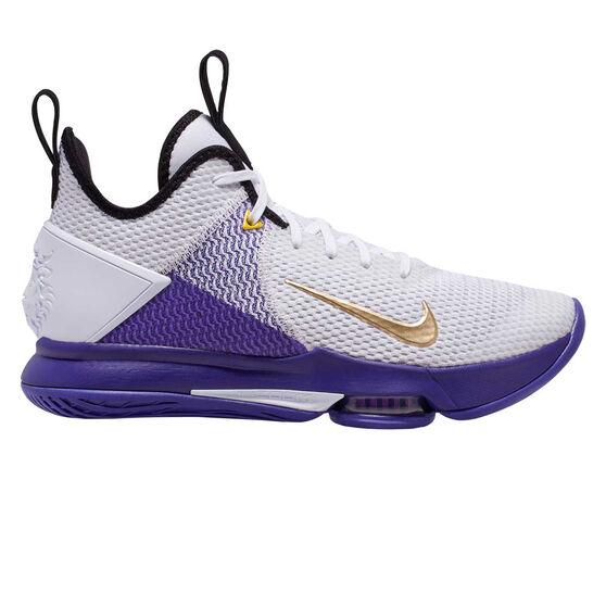 Nike LeBron Witness IV Mens Basketball Shoes White / Gold US 8.5, White / Gold, rebel_hi-res