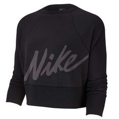 Nike Womens Dri FIT Get Fit Sweatshirt Black XS, Black, rebel_hi-res
