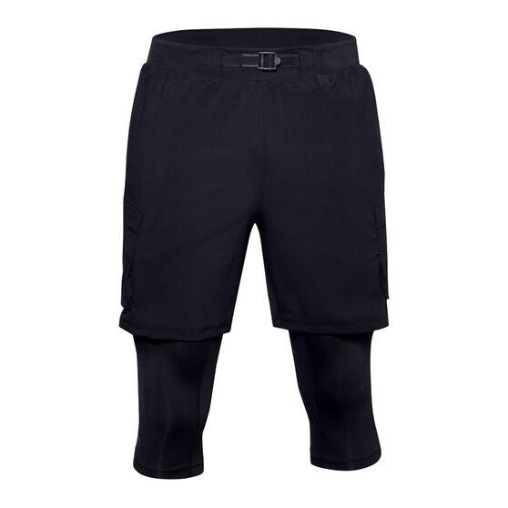 Under Armour Mens Run Anywhere 2 in 1 Long Shorts Black M, Black, rebel_hi-res