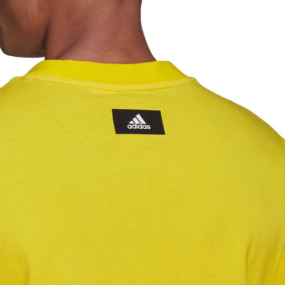 adidas Mens Sportswear Logo Tee, Yellow, rebel_hi-res