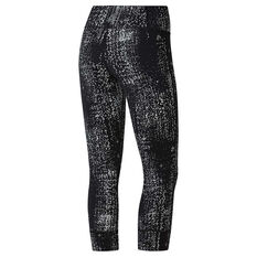 Reebok Womens Lux Data Dot 3/4 Tights Black / Grey XS, Black / Grey, rebel_hi-res