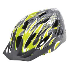 Flight Explorer Boys Bike Helmet 49 - 54cm Green Flames, , rebel_hi-res