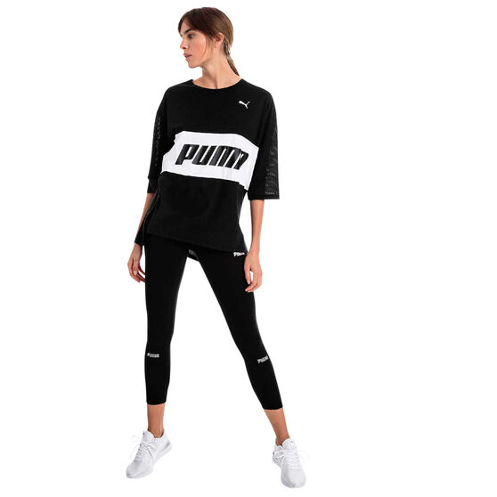 Puma Womens Modern Sports Boyfriend Tee, Black, rebel_hi-res